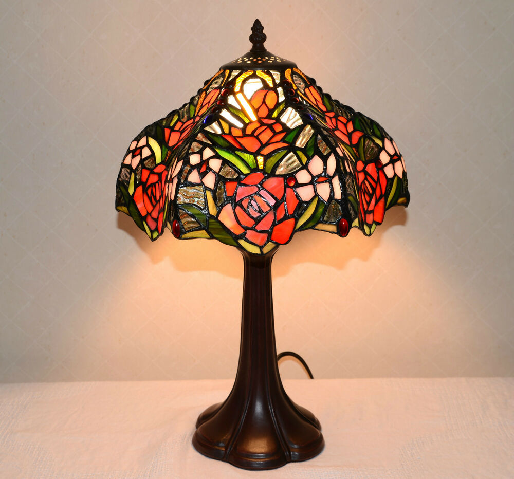 12 Quot W Rose Flowers Stained Glass Tiffany Style Table Desk