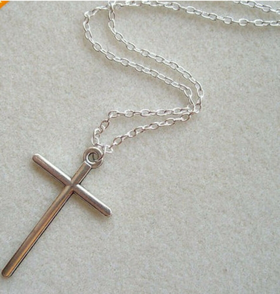 Cross Necklace Simple Crucifix Skinny Pendant Silver Chain