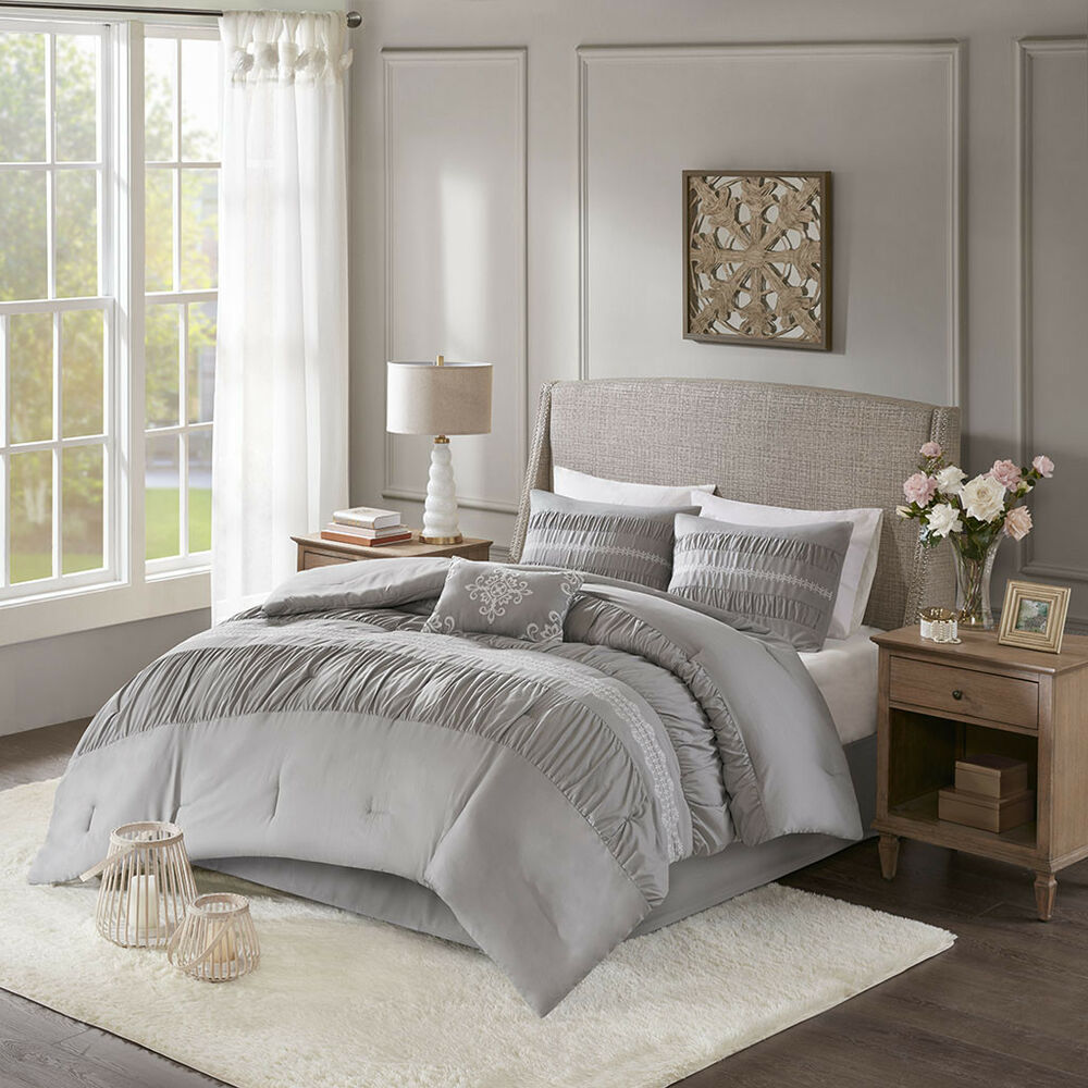 Gorgeous Gray And White Bedrooms: BEAUTIFUL MODERN CHIC GREY SILVER BEIGE TAN TAUPE RUFFLE
