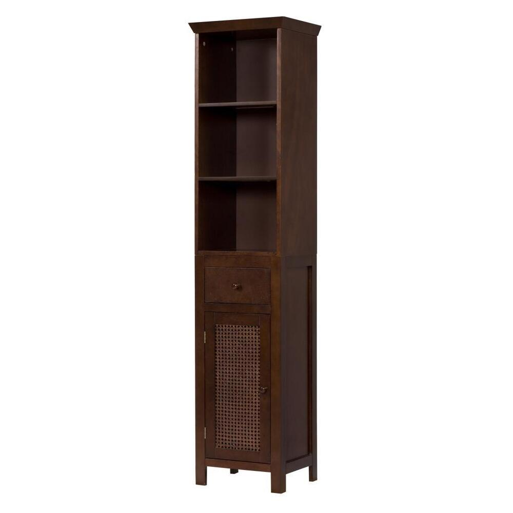 Cane Brown Floor Linen Tower Cabinet W 3 Shelves For Bathroom/Kitchen Storage