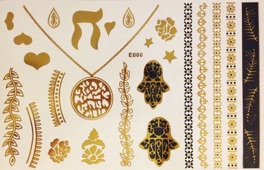 flash einmal temporary klebe tattoo gold 25teile armband henna hand der fatima ebay. Black Bedroom Furniture Sets. Home Design Ideas