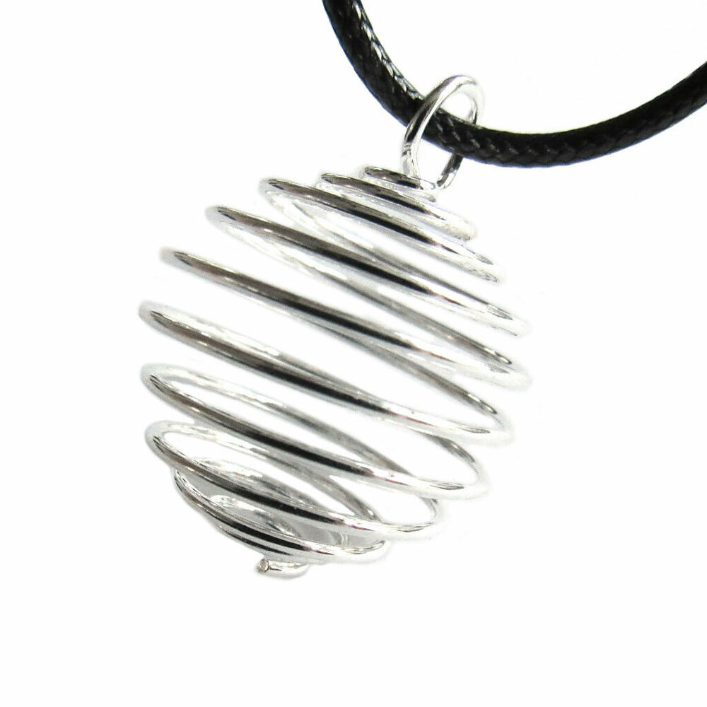 Silver Coil Pendant Empty Collapsible Cage For Wire