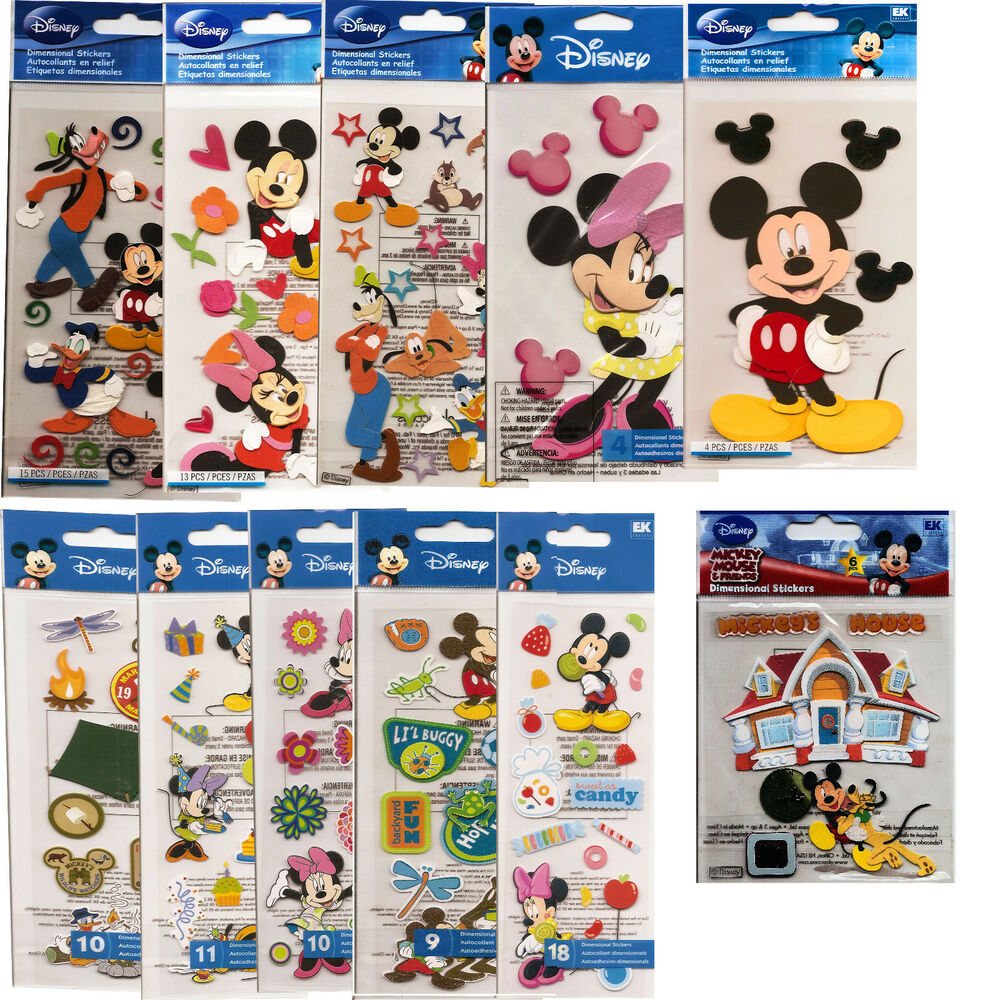 disney stickers mickey and minnie mouse mickey and friends your choice ebay. Black Bedroom Furniture Sets. Home Design Ideas