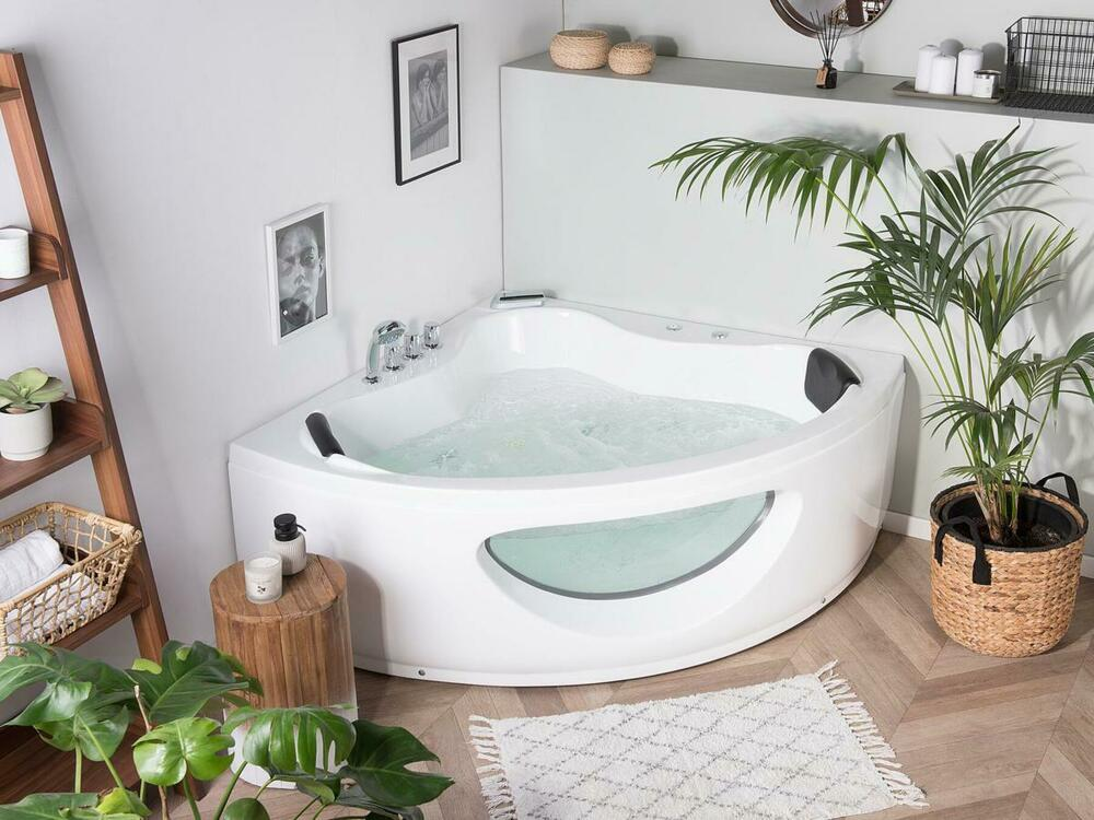 whirlpool eck badewanne eckwanne mit glas led licht wasserfall jakuzzi glasfront ebay. Black Bedroom Furniture Sets. Home Design Ideas