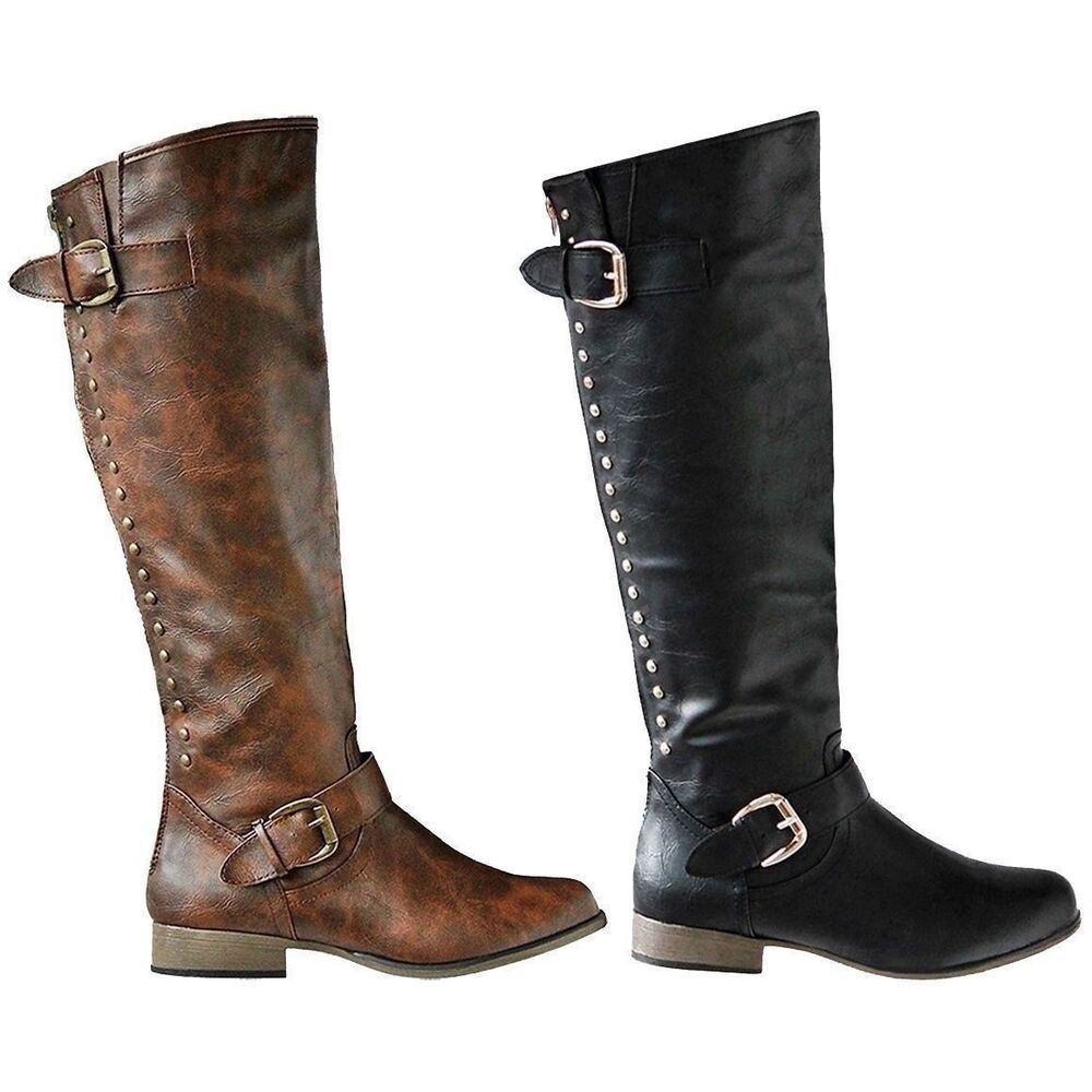 Womens Fashion Knee High Boots Riding Winter Faux Leather Flat Heels Shoes Size Ebay