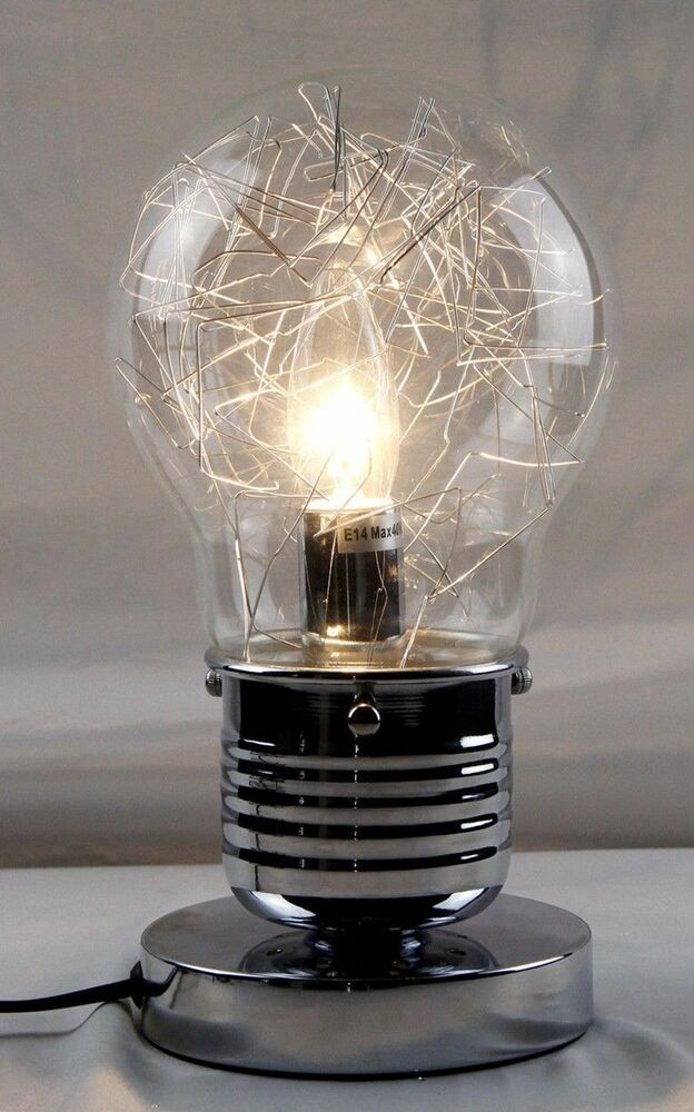 Industrial single light bulb bedside table cafe touch lamp 27cm silver dimmable ebay - Touch lamps for bedside table ...