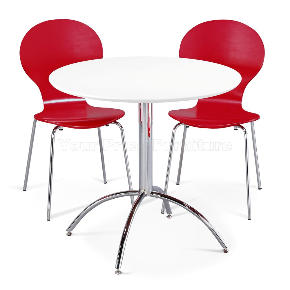 Dining set round white table and 2 red chairs chrome for White kitchen dining chairs