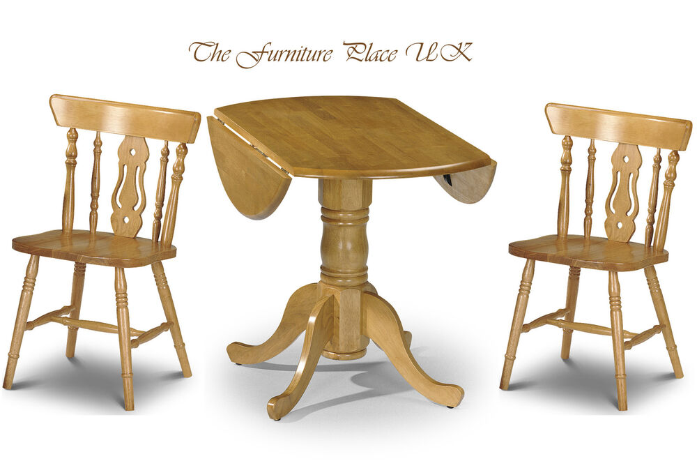 Solid wood drop leaf table dining set in honey pine finish for Solid oak dining table with leaf