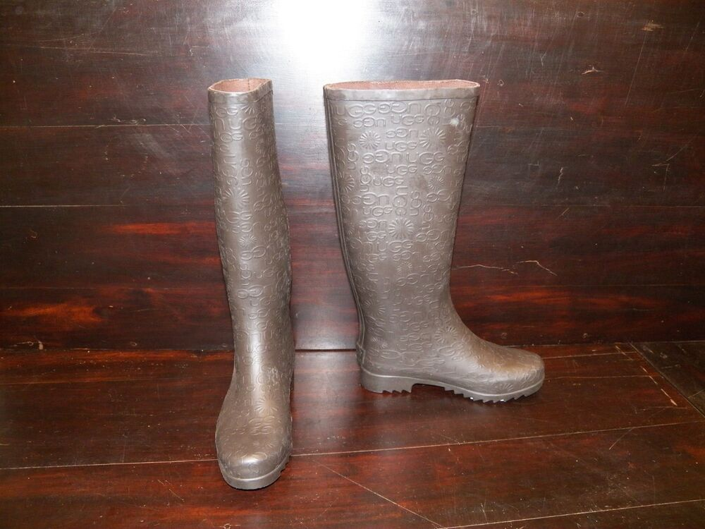 new womens ugg wilshire logo tall stout brown rain winter