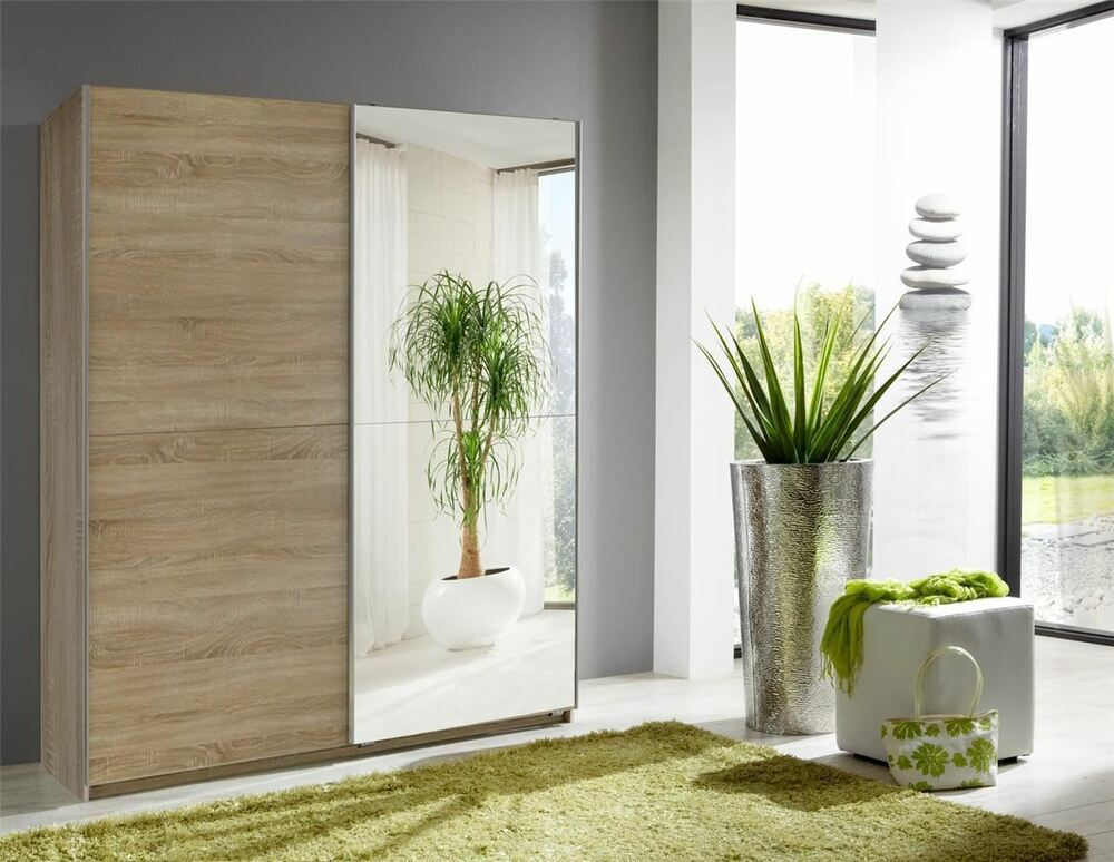 german 2 door 135cm sliding wardrobe oak with mirrors ebay