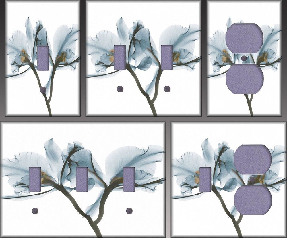 Orchids In Blue Wall Decor Light Switch Plate Cover eBay