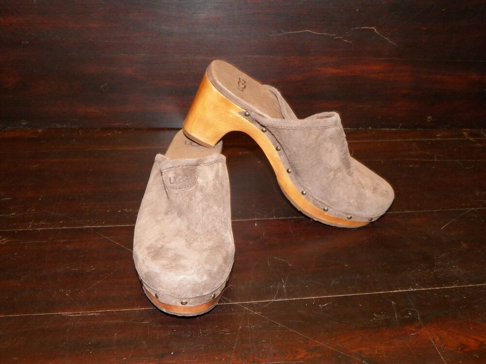 New Womens Ugg Abbie Chocolate Brown Suede Clogs Wooden