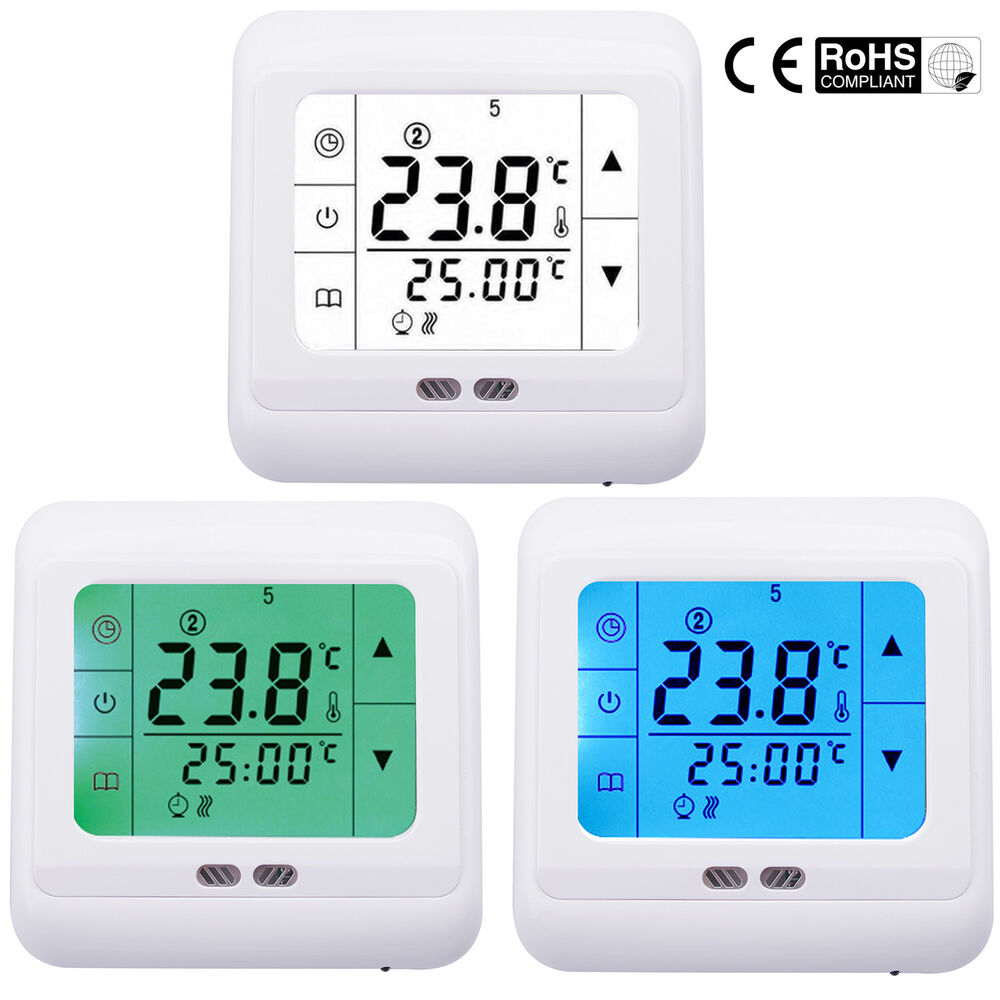 digital raumtemperaturregler thermostat heizung touchscreen fu bodenheizung ebay. Black Bedroom Furniture Sets. Home Design Ideas