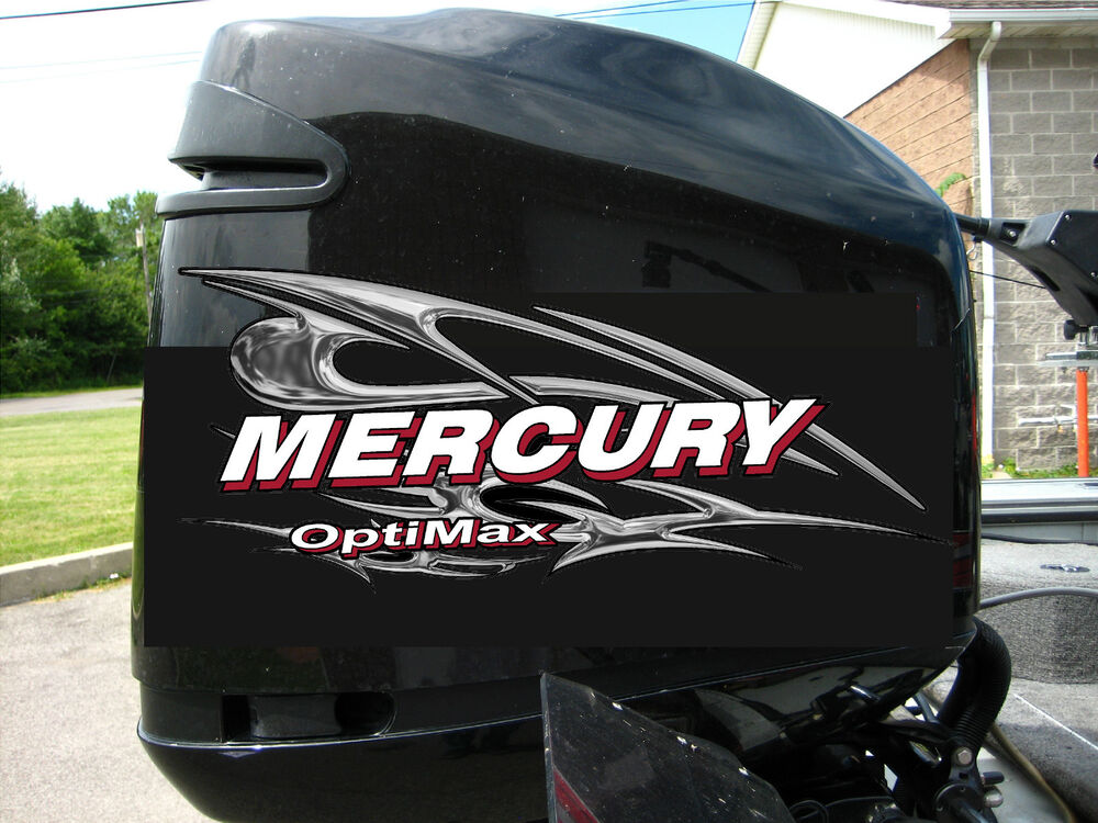 Mercury optimax v6 135 250 hp chrome style decal kit ebay for Custom outboard motor decals