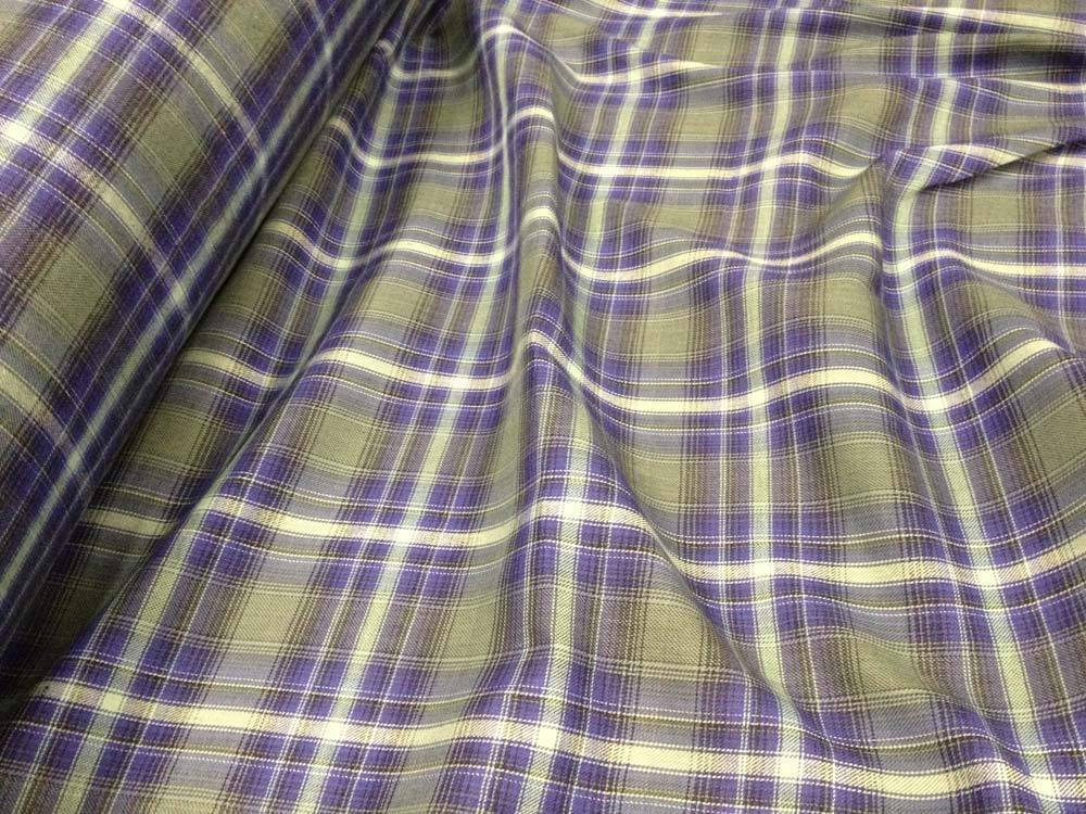 Blue Plaid Cotton Flannel Fabric By The Yard Shirting