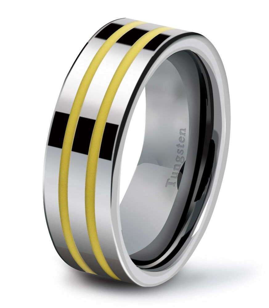 Tungsten Carbide Mens Wedding Band Ring Flat 8mm Modern Polished Yellow Strip