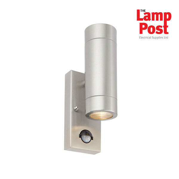 Radius Double Wall Light With Pir Black : SAXBY Palin 51893 Stainless Steel Up & Down Outdoor Wall Light With PIR IP44 eBay