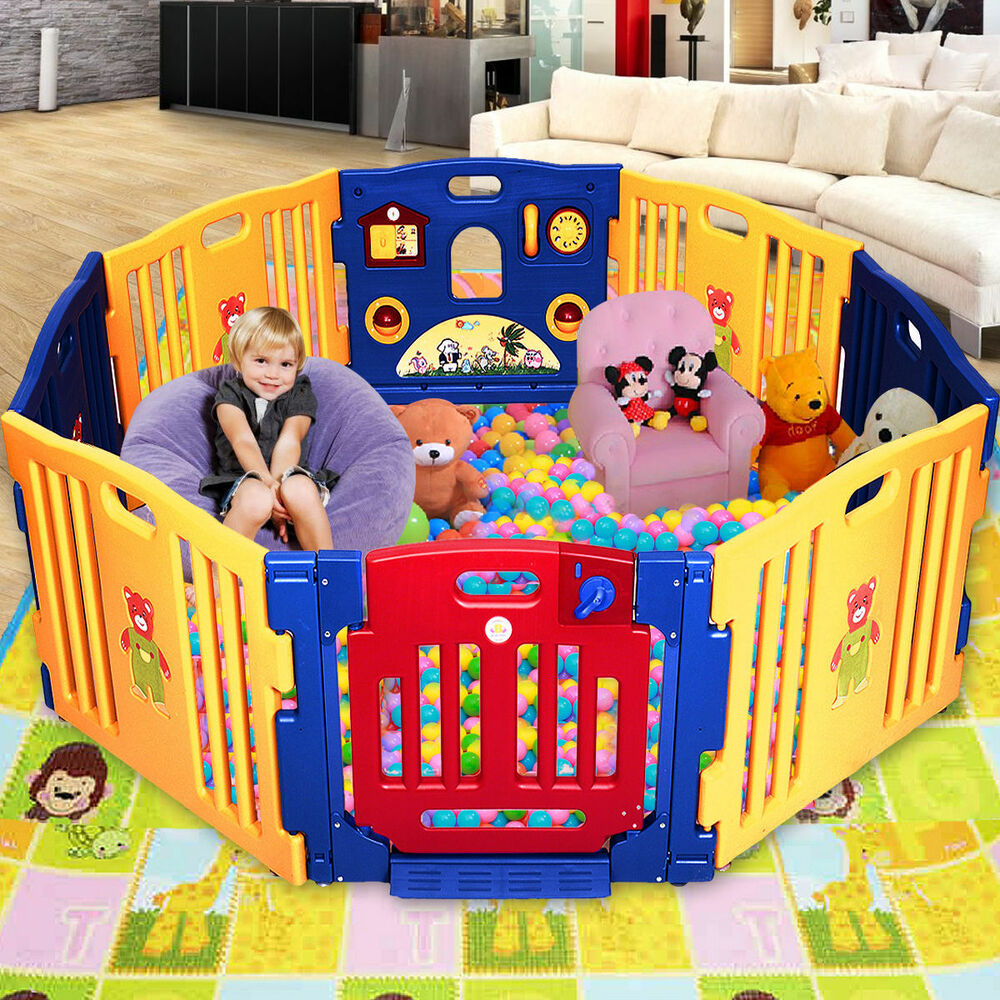8 Panel Large Foldable Baby Kids Play Pens Playpen Room