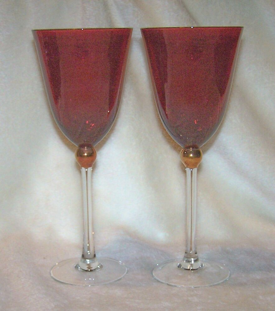 Gorham For Lenox Red Crystal Wine Glasses Touch Of Gold Set Of 2 Mint Ebay