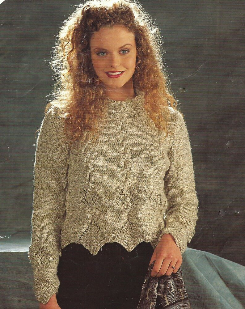 Knitting Patterns For Larger Ladies : Ladies Knitting Pattern Sweater Aran 30-52