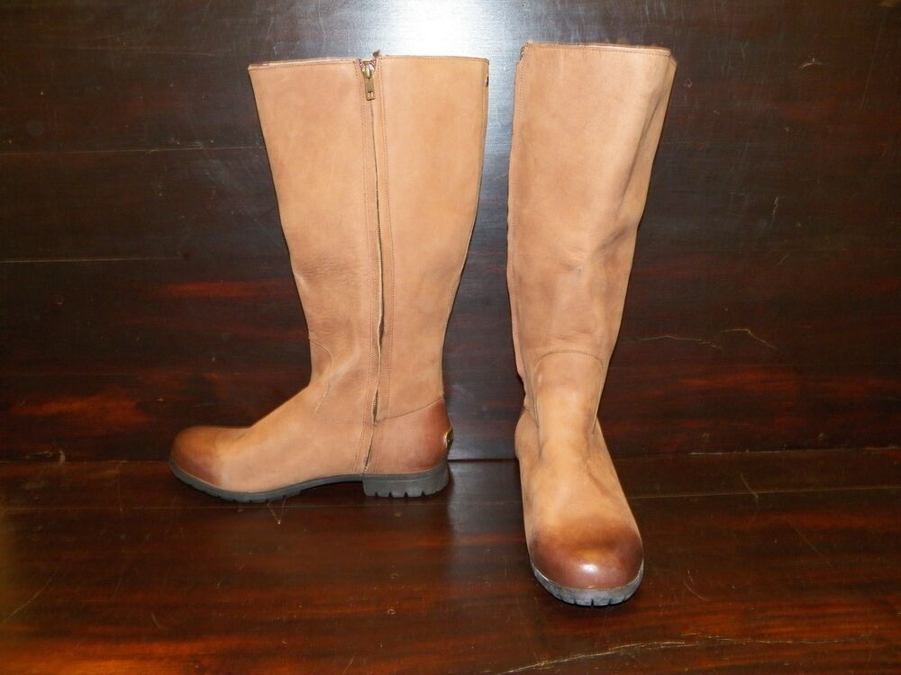 New Womens Ugg Broome Iii Chocolate Leather Tall Sheepskin