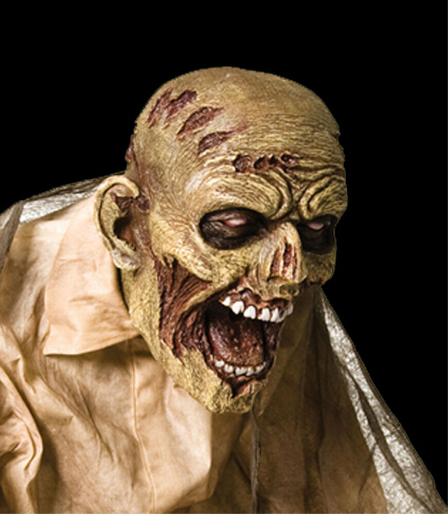 Moving Halloween Decorations: Walking Dead Life Size Realistic-ANIMATED ZOMBIE-Fogger