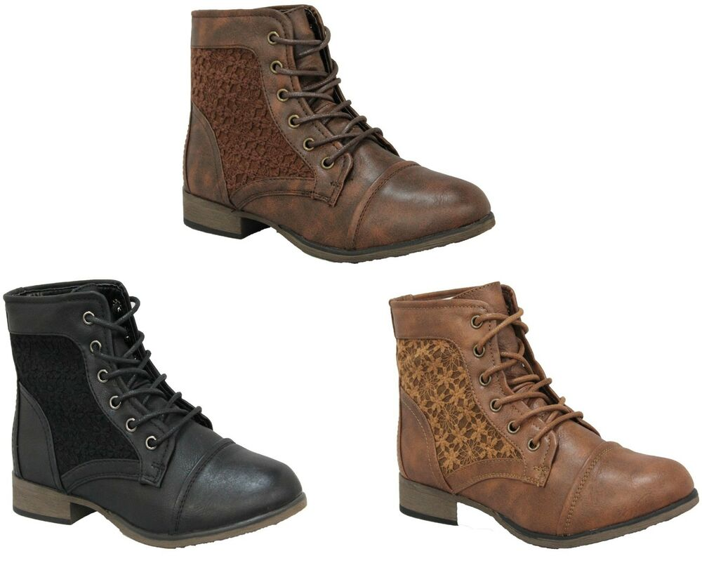 boots ankle chrochet fashion combat lace up size