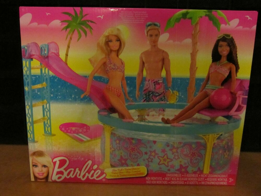 Brand new mattel barbie dream house glam pool ebay for Barbie doll house with swimming pool