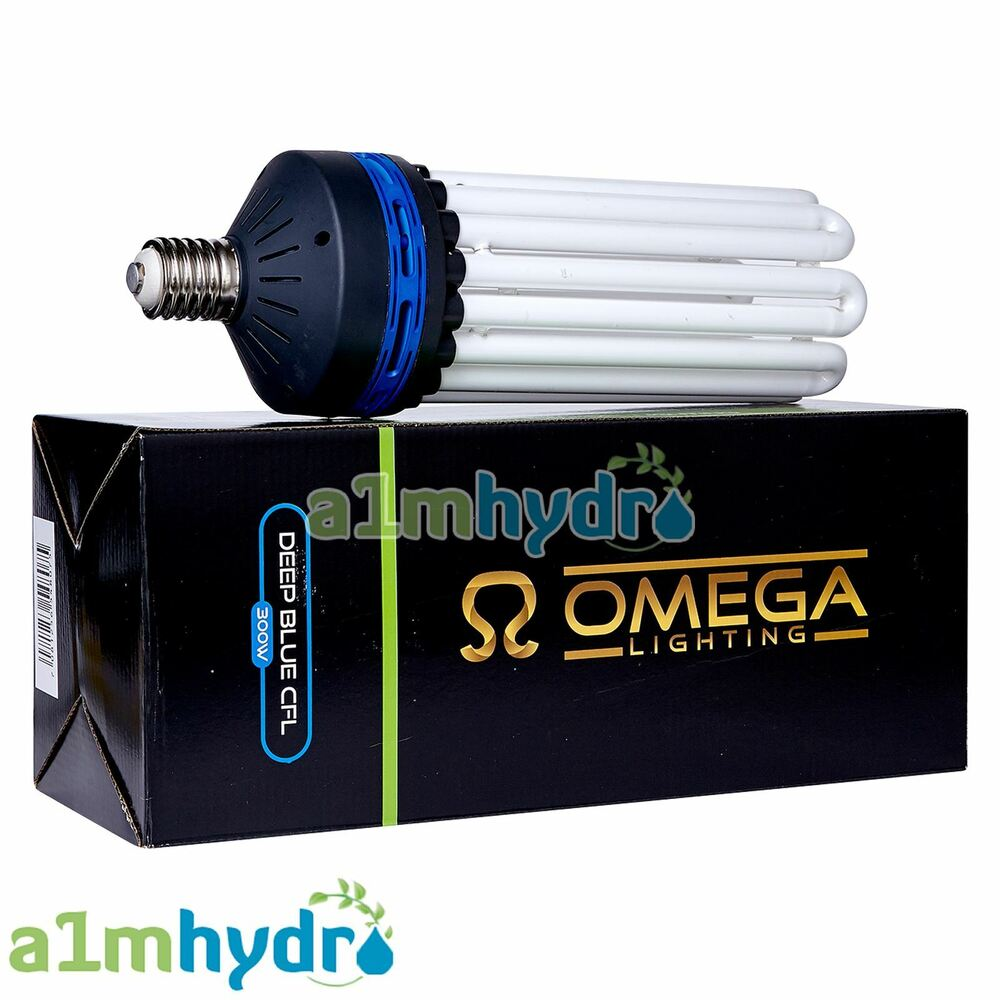omega cfl 300w blue spectrum e40 socket grow light bulb. Black Bedroom Furniture Sets. Home Design Ideas