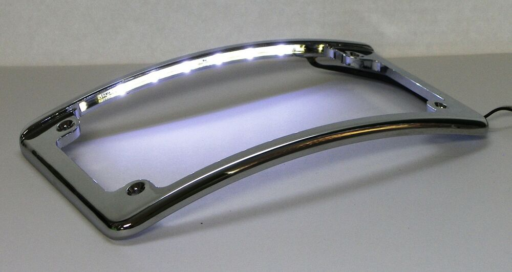curved led motorcycle license plate frame in chrome finish from custom dynamics ebay