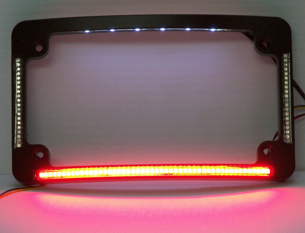 quad led curved motorcycle license plate frame black w taillight turns ebay