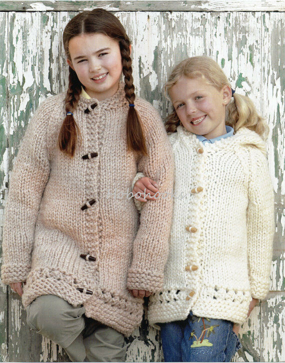 Knitting Pattern For Toddler Duffle Coat : girls child hooded or round neck duffle coat chunky ...