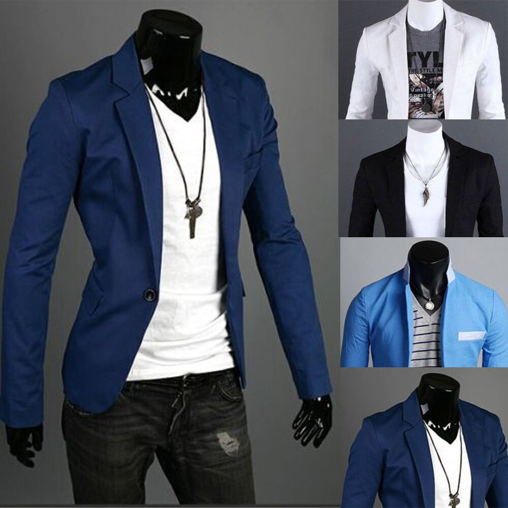 Blazers Jackets Mens: Fashion Men's Slim Fit Stylish Formal Casual One Button
