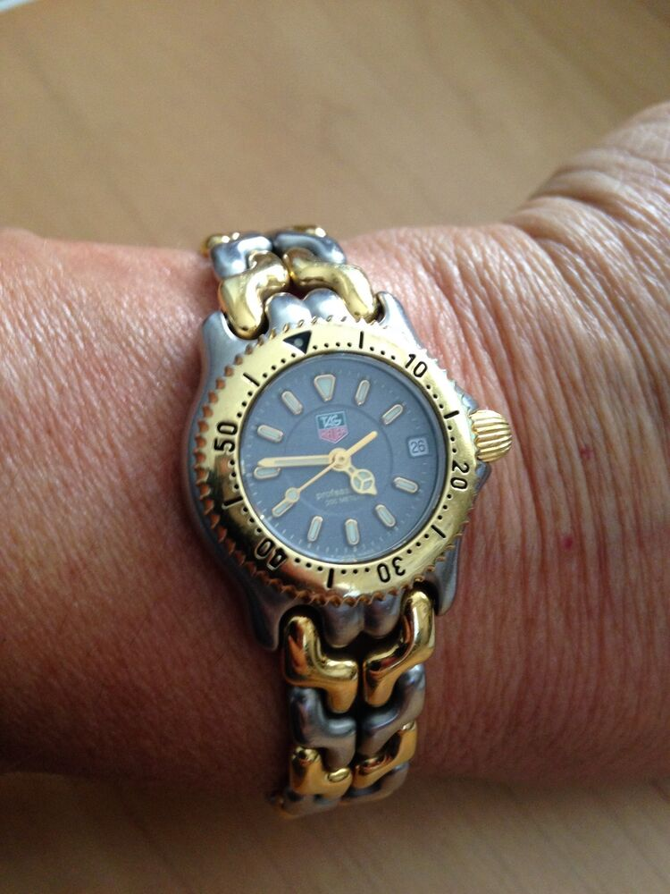 Tag heuer gold and silver ladies watch s95 215 ebay for Tag heuer women