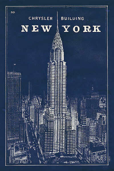 blueprint map new york chrysler building sue schlabach city print poster 24x36 ebay. Black Bedroom Furniture Sets. Home Design Ideas