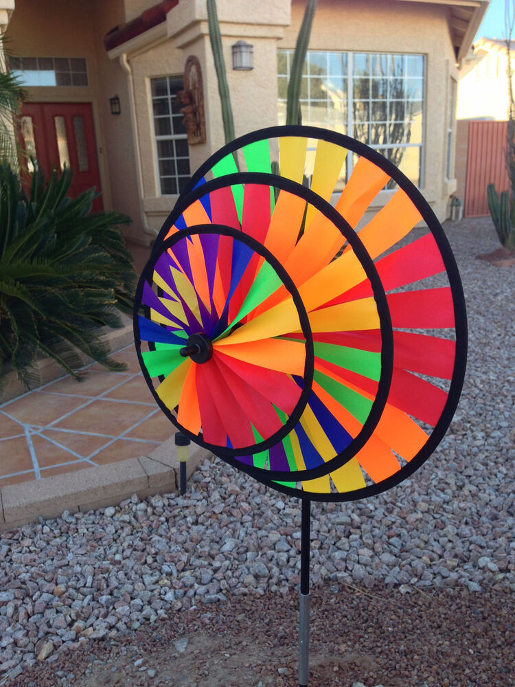 Wind Spinner Rainbow Triple Wheel For Patio / Yard