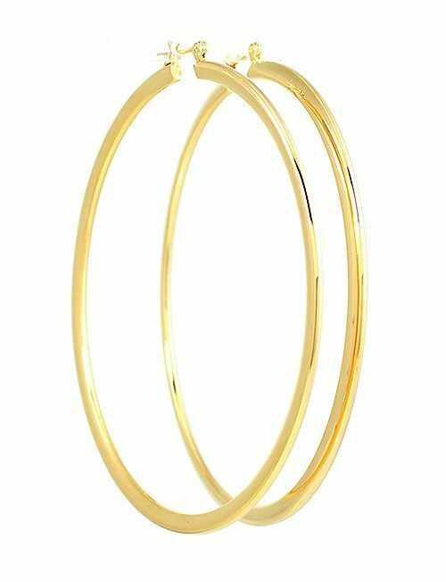 14k gold plated ex large hoop earrings 3 inches drop ebay for Is gold plated jewelry worth anything