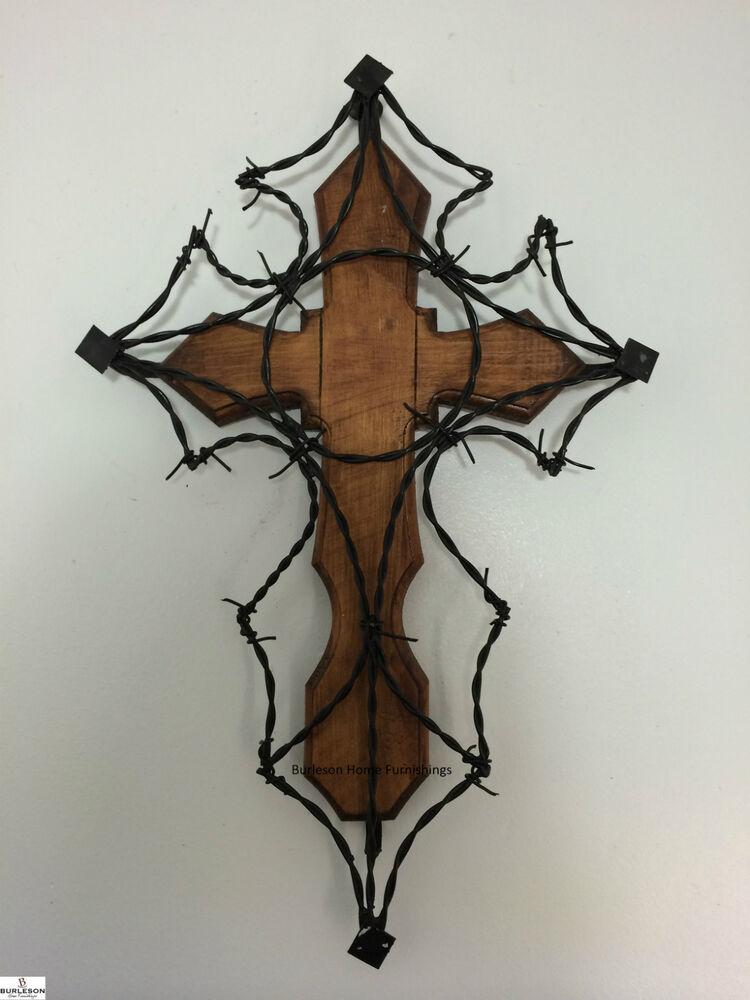 Western Wood Wall Decor : Quot wood and barbed wire cross wall decor rustic western