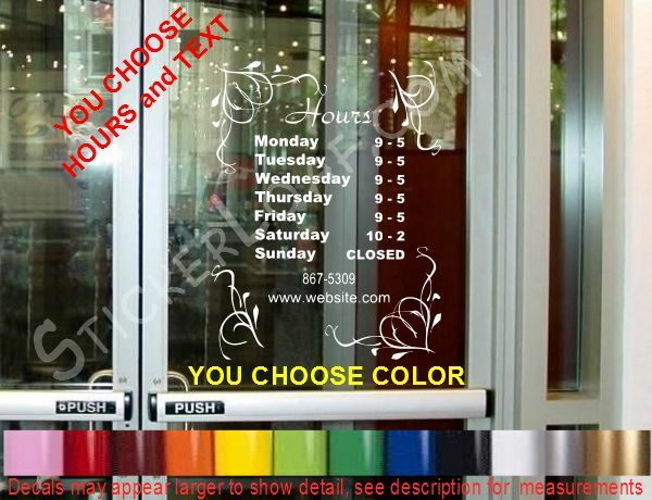 Store Hours Custom Window Decal Business Shop Storefront