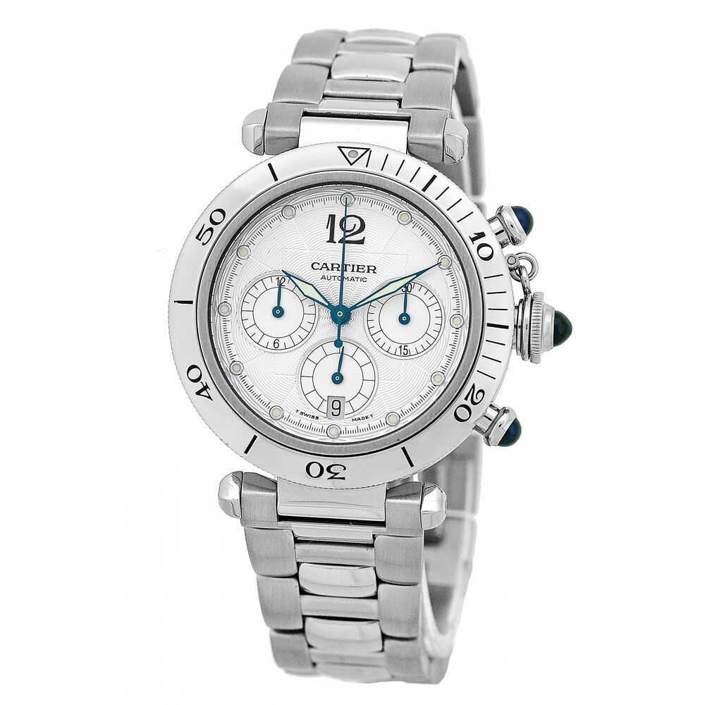 Cartier steel pasha 38mm chronograph automatic mint ebay for Watches 38mm