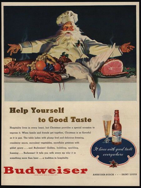 1947 BUDWEISER Beer - SANTA CLAUS - Father Christmas - Goose Dinner - VINTAGE AD | eBay