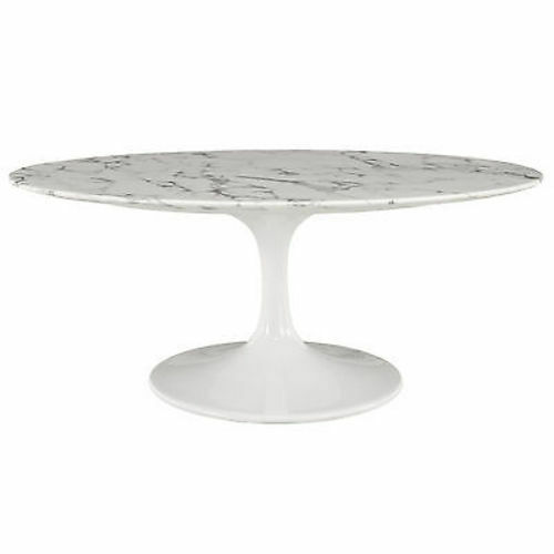 Saarinen tulip style 42 oval shaped cultured marble coffee table in white ebay Oval shaped coffee table