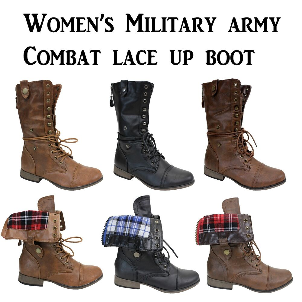WOMEN'S BOOT FOLD OVER PLAID MILITARY ARMY COMBAT LACE UP & ZIPPER SIZE 5.5 ~ 10   eBay