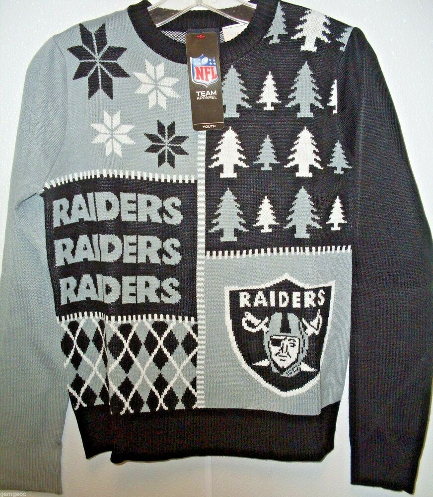 NFL NWT BUSY BLOCK UGLY SWEATER YOUTH - OAKLAND RAIDERS - YOUTH ...