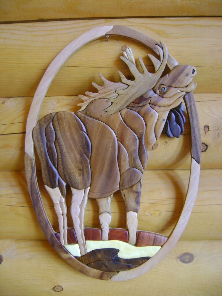 Art Décor: Large Oval Standing Moose Intarsia Wood Art