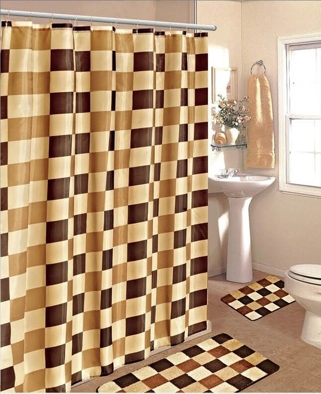 4pc checkers brown gold bathroom set bath mats shower for Brown and gold bathroom sets