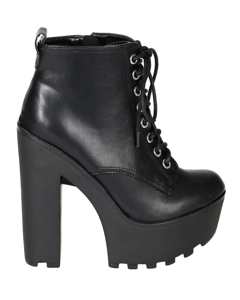 soda ankle boots thick chunky lug heel lace up black