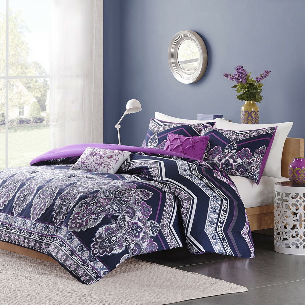 modern chic blue teal purple aqua chevron stripe girls comforter set pillows ebay. Black Bedroom Furniture Sets. Home Design Ideas