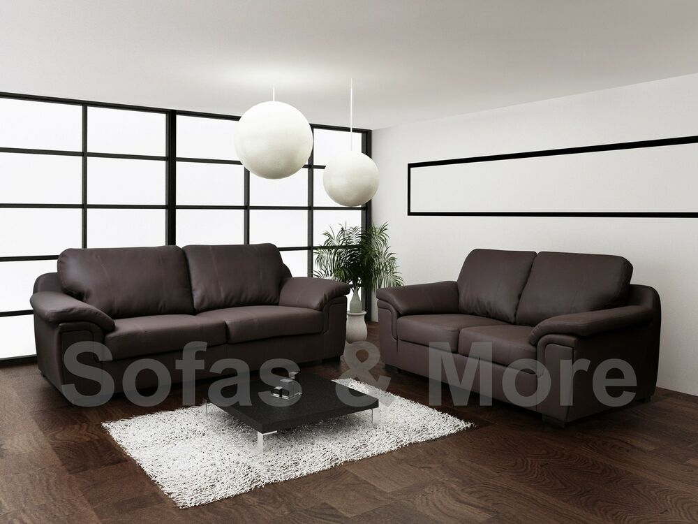 Brand new amy 3 2 seater sofa set in brown faux leather for 7 seater living room set