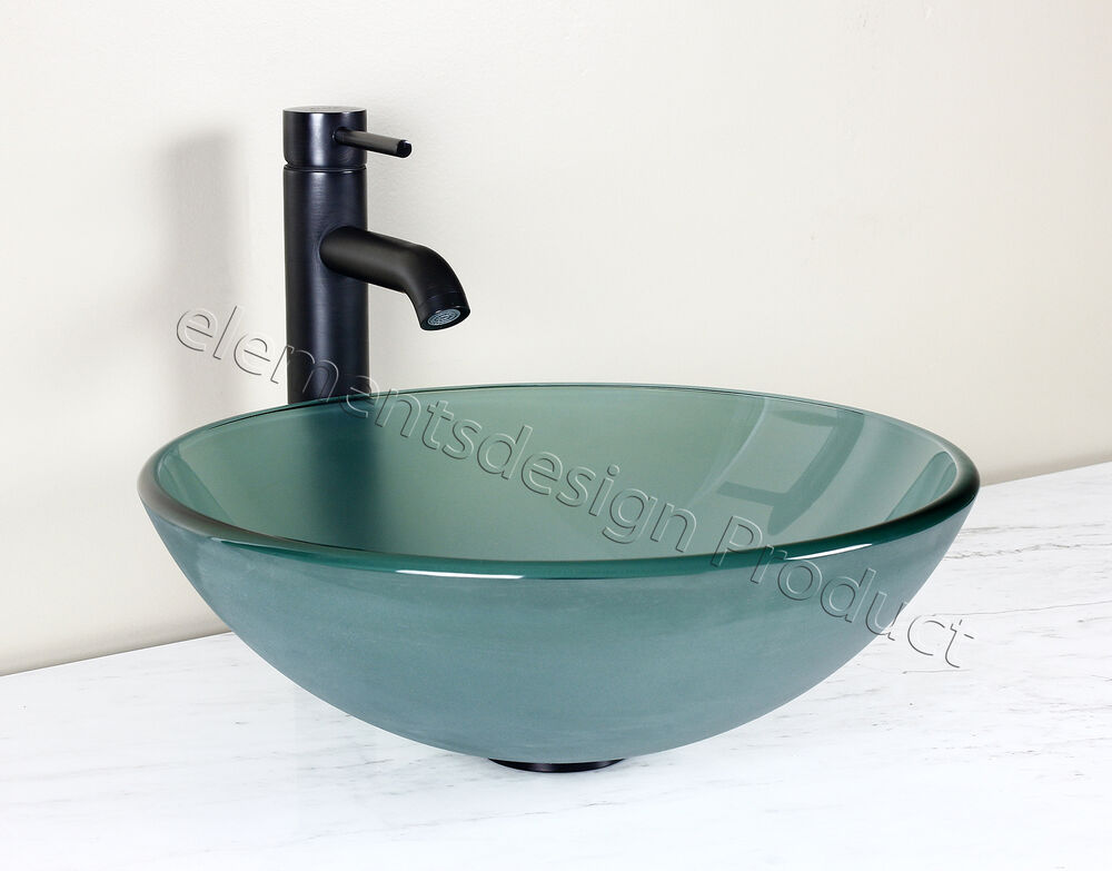 Bathroom Frosted Green Glass Vessel Vanity Sink Bronze Faucet Drain 12 2fe3 Ebay